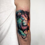 Color lion small tattoo