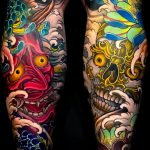 Japanese demons color tattoos