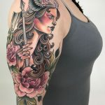 Viking warrior women color tattoo