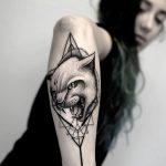 Pentagram cat tattoo